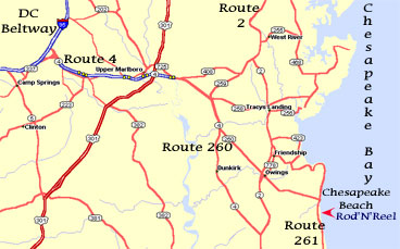 Map to Chesapeake Beach (MD) from the DC Beltway
